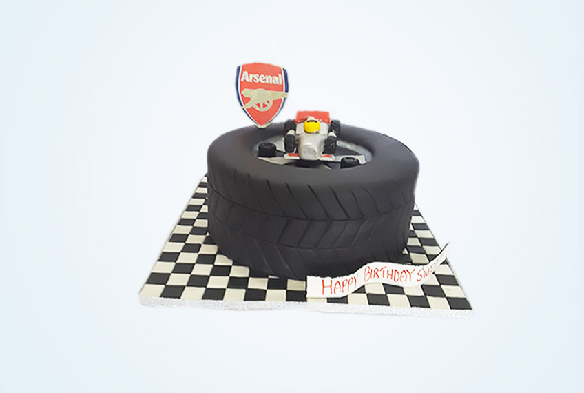 Arsenal fc and formula one birthday cake