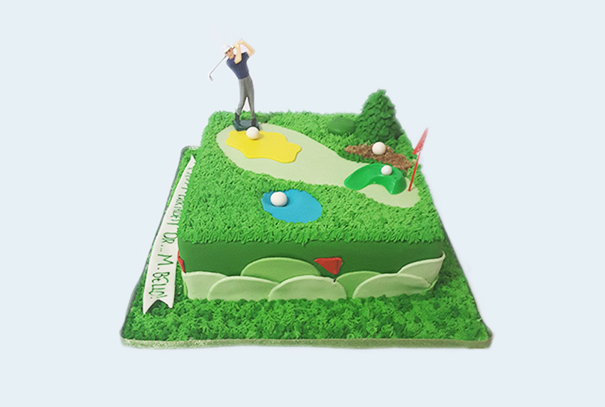 Green golf course birthday cake