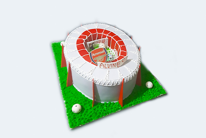 Arsenal emirate stadium birthday cake