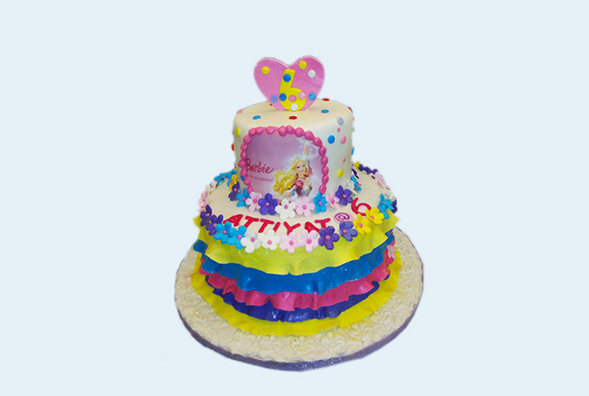 mixed color barbie birthday cake