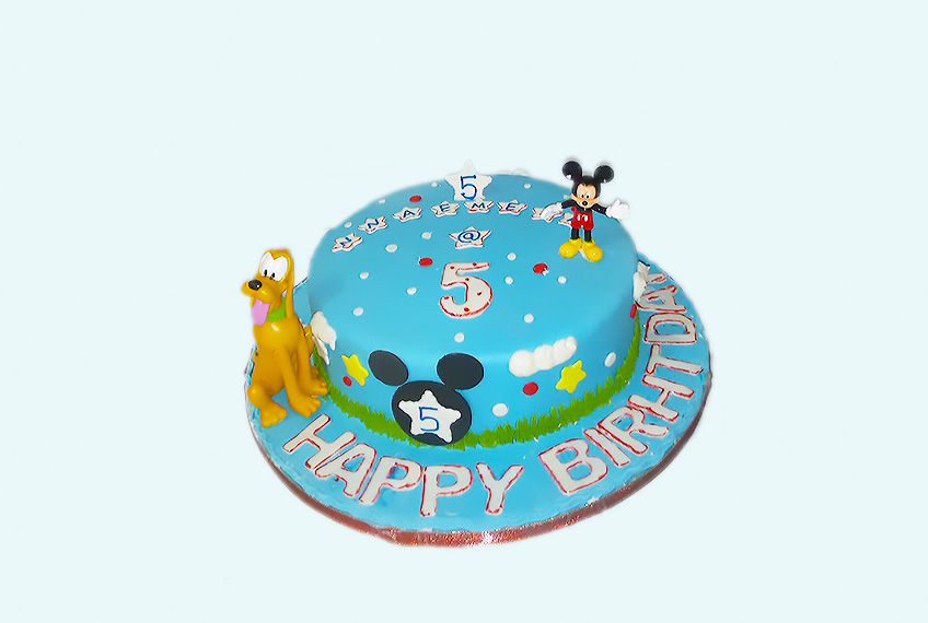 Blue mickey mouse cake