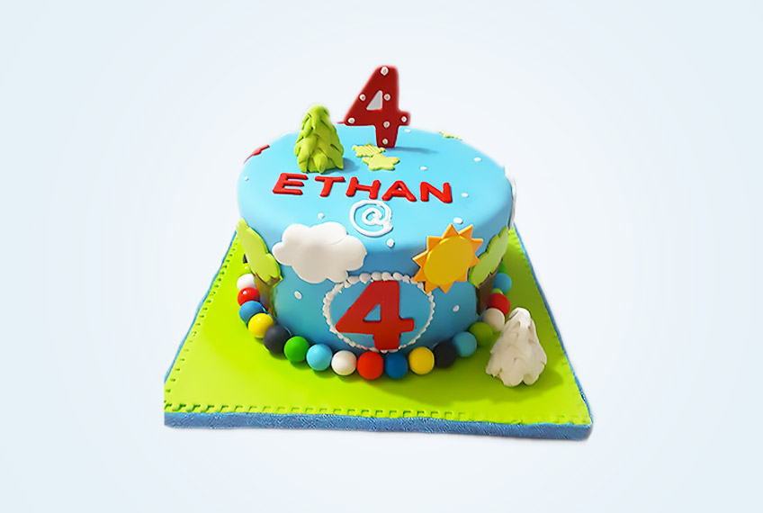 Ethan rocks birthday cake