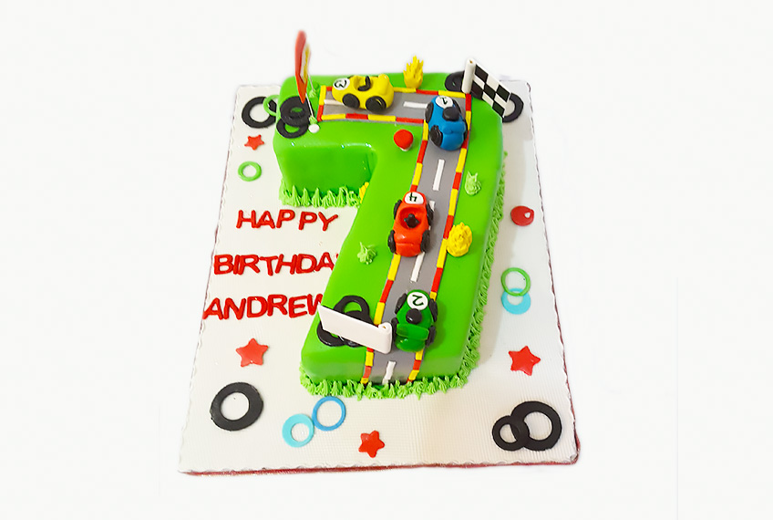 Car racing birthday cake