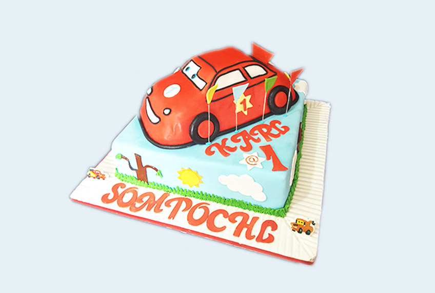 Red car racing birthday cake